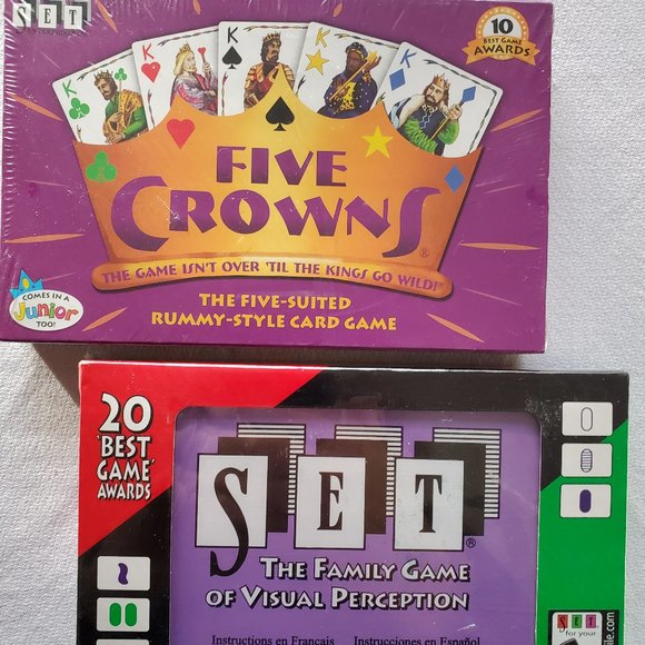 2 Pack Family Card Games ~ Set and Five Crowns NEW